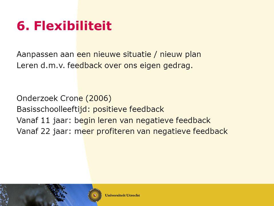 6. Flexibiliteit Aanpassen aan een nieuwe situatie / nieuw plan