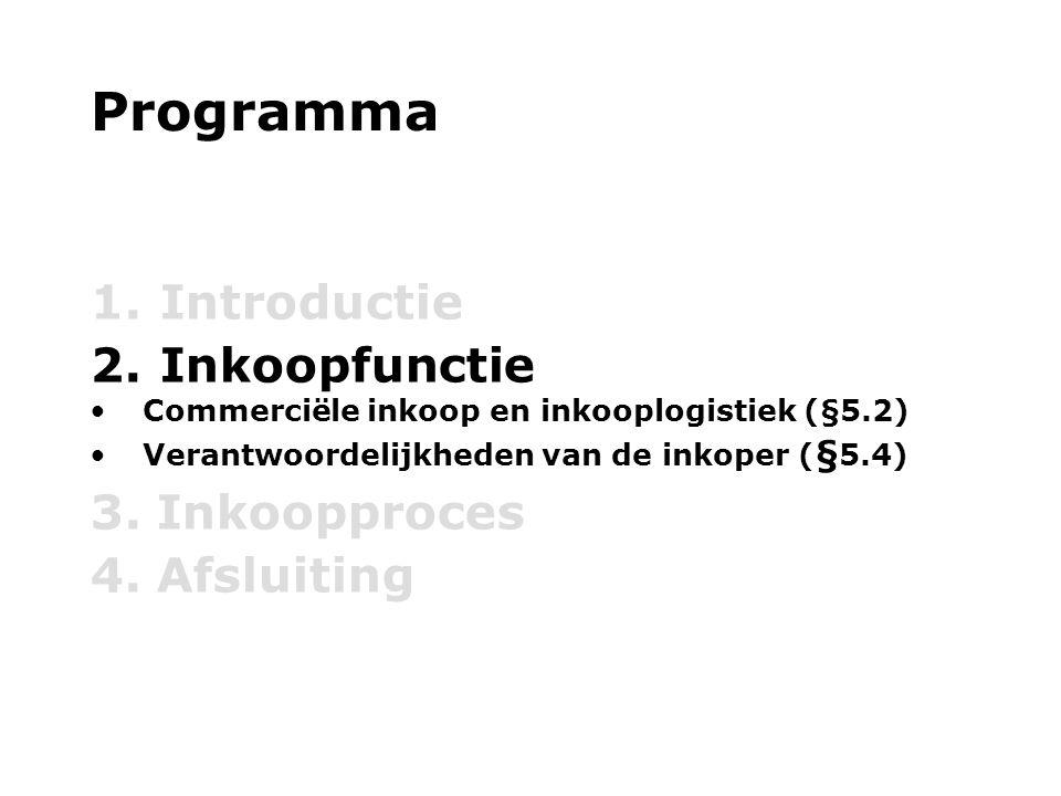Programma Introductie Inkoopfunctie 3. Inkoopproces 4. Afsluiting