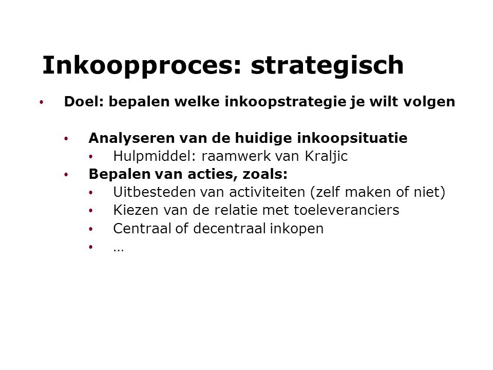 Inkoopproces: strategisch