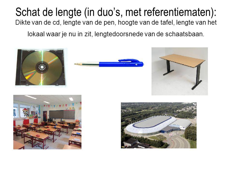Schat de lengte (in duo's, met referentiematen): Dikte van de cd, lengte van de pen, hoogte van de tafel, lengte van het lokaal waar je nu in zit, lengtedoorsnede van de schaatsbaan.