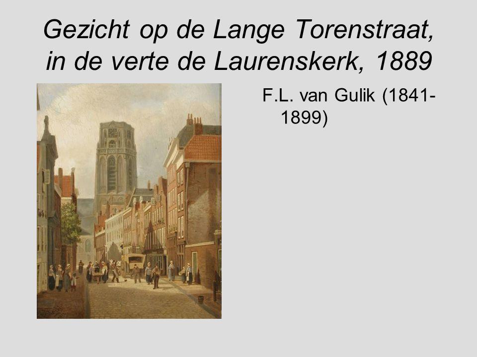 Gezicht op de Lange Torenstraat, in de verte de Laurenskerk, 1889