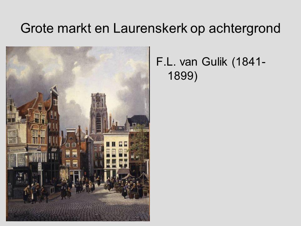 Grote markt en Laurenskerk op achtergrond
