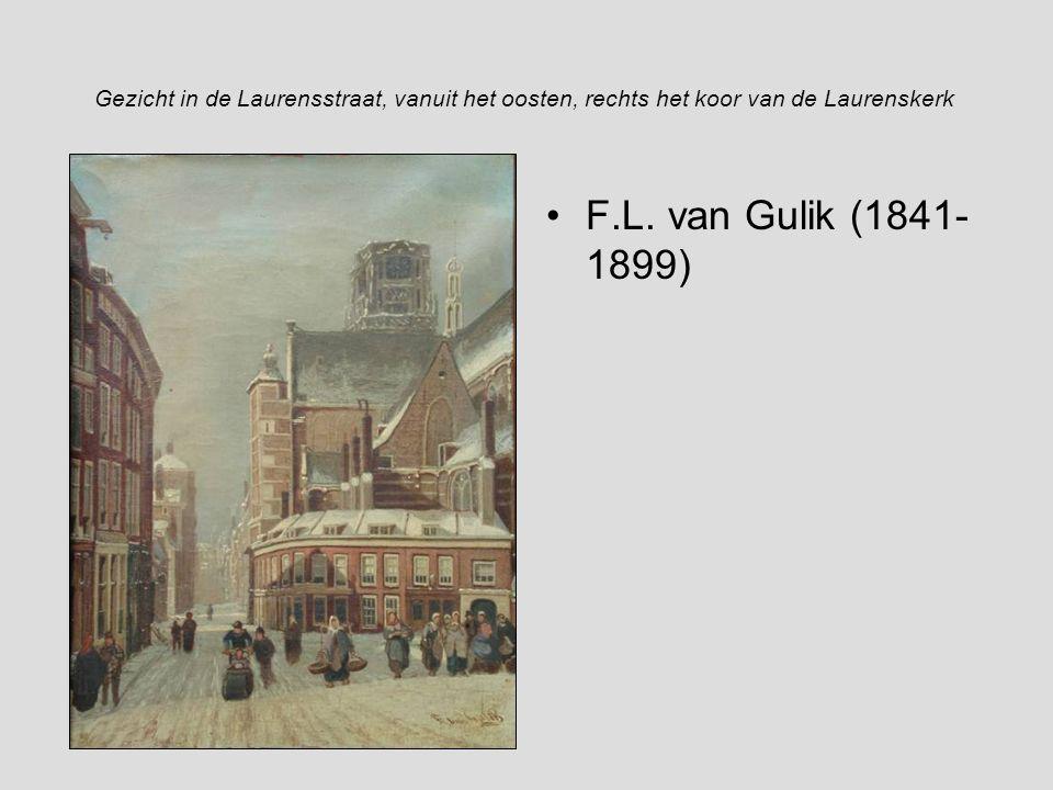 Gezicht in de Laurensstraat, vanuit het oosten, rechts het koor van de Laurenskerk