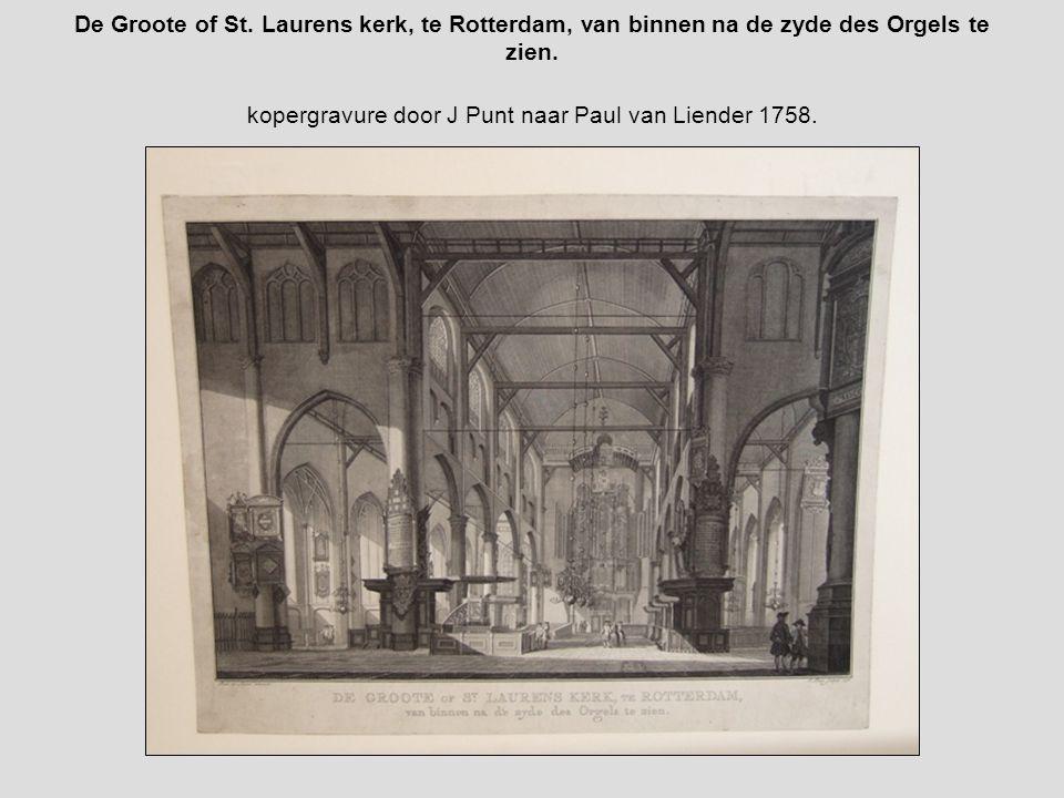 De Groote of St. Laurens kerk, te Rotterdam, van binnen na de zyde des Orgels te zien.