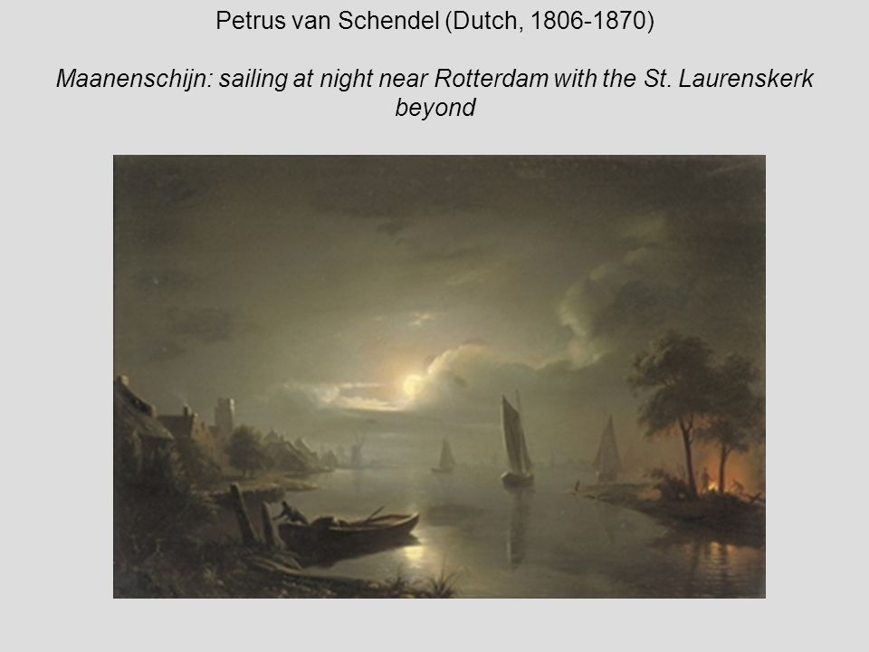 Petrus van Schendel (Dutch, 1806-1870) Maanenschijn: sailing at night near Rotterdam with the St.