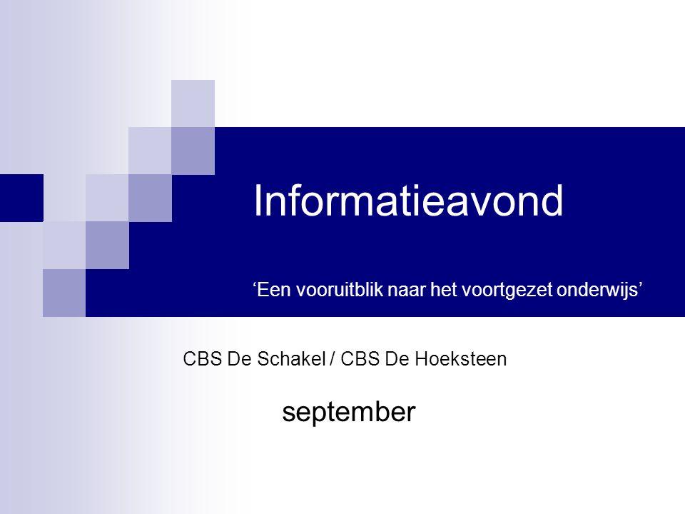 Informatieavond 'Een vooruitblik naar het voortgezet onderwijs'