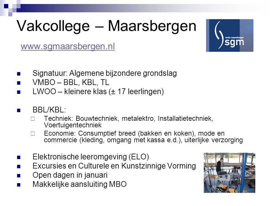 Vakcollege – Maarsbergen www.sgmaarsbergen.nl