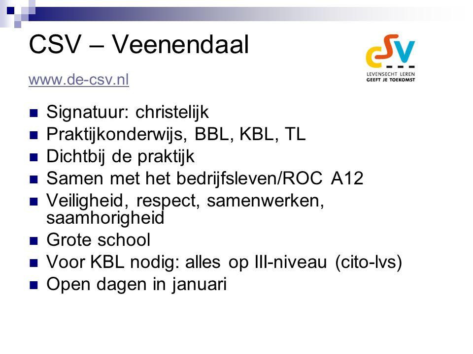 CSV – Veenendaal www.de-csv.nl