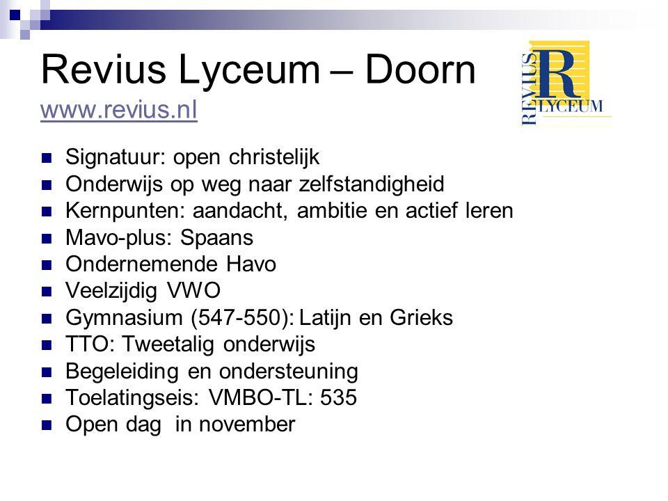 Revius Lyceum – Doorn www.revius.nl