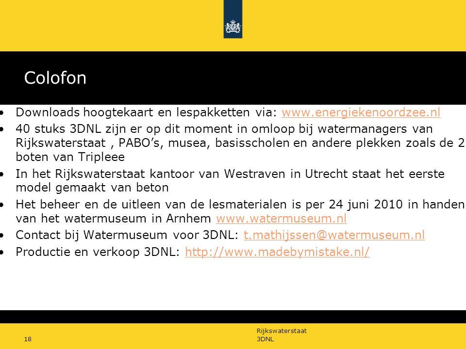 Colofon Downloads hoogtekaart en lespakketten via: www.energiekenoordzee.nl.