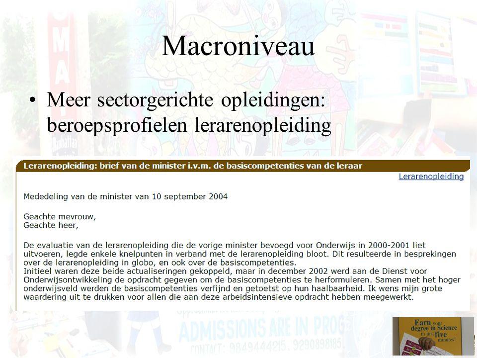Macroniveau Meer sectorgerichte opleidingen: beroepsprofielen lerarenopleiding