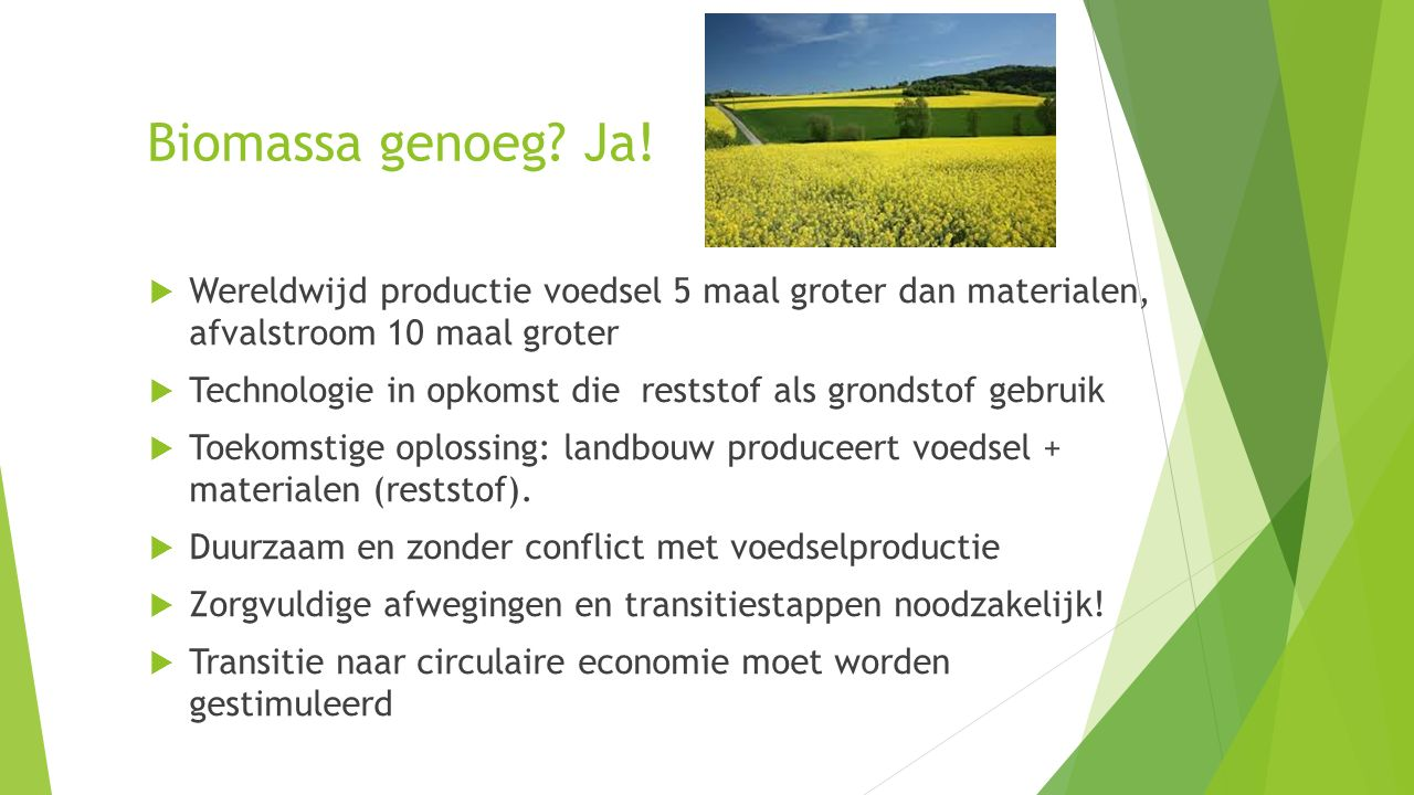 Biomassa genoeg Ja! Wereldwijd productie voedsel 5 maal groter dan materialen, afvalstroom 10 maal groter.