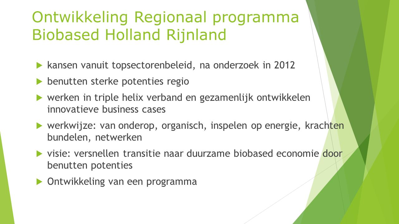 Ontwikkeling Regionaal programma Biobased Holland Rijnland