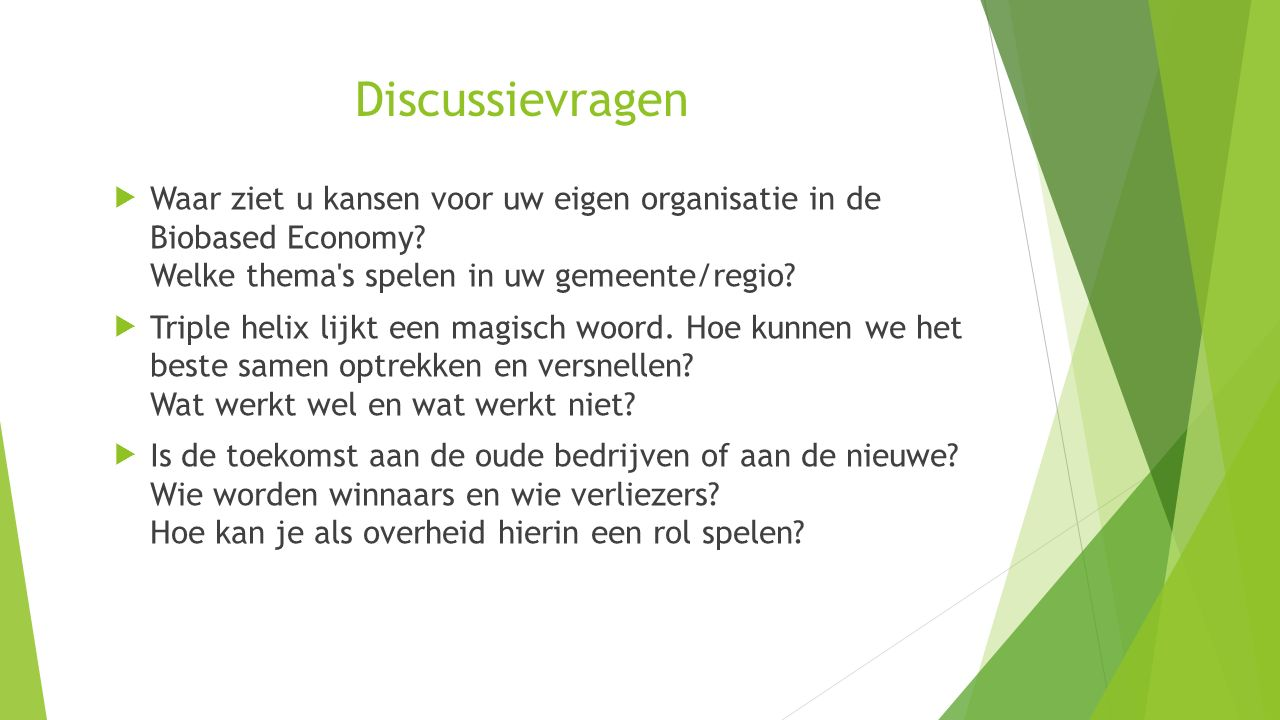 Discussievragen Waar ziet u kansen voor uw eigen organisatie in de Biobased Economy Welke thema s spelen in uw gemeente/regio
