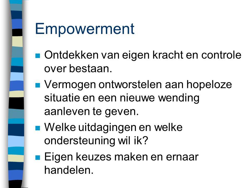 Empowerment Ontdekken van eigen kracht en controle over bestaan.