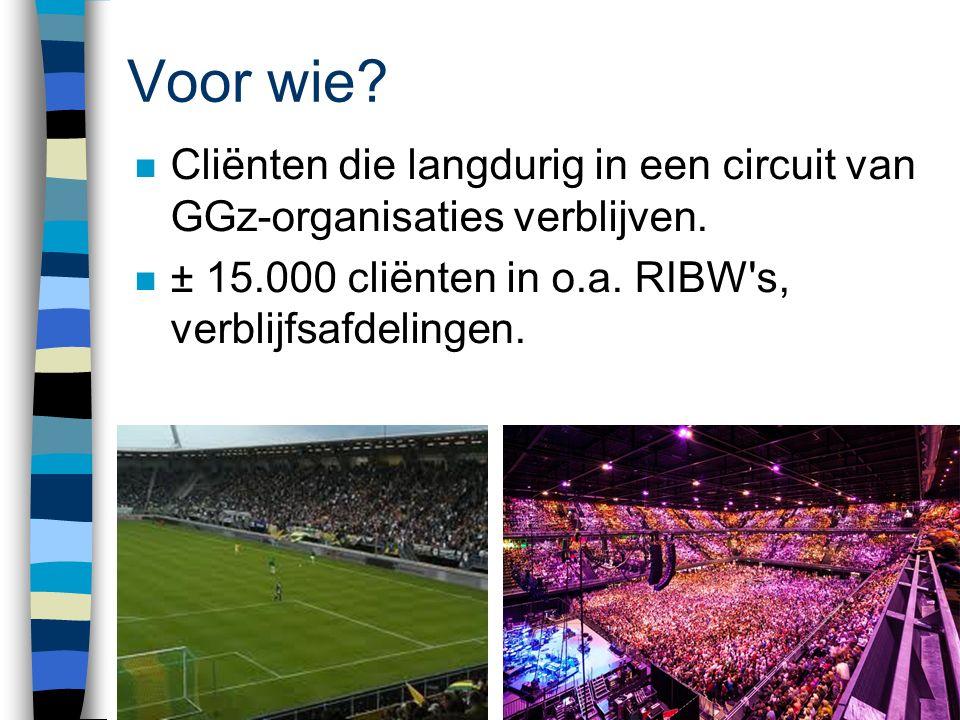 Voor wie Cliënten die langdurig in een circuit van GGz-organisaties verblijven. ± 15.000 cliënten in o.a. RIBW s, verblijfsafdelingen.