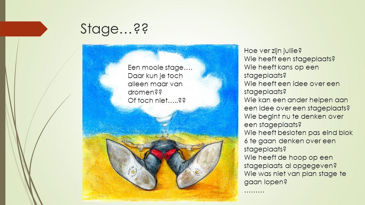 Stage… Hoe ver zijn jullie Wie heeft een stageplaats