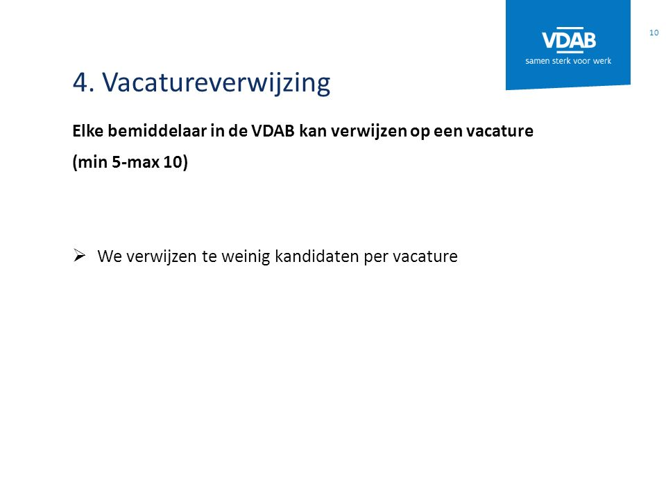 4. Vacatureverwijzing Elke bemiddelaar in de VDAB kan verwijzen op een vacature.