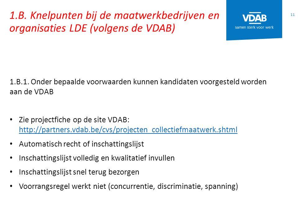 1.B. Knelpunten bij de maatwerkbedrijven en organisaties LDE (volgens de VDAB)
