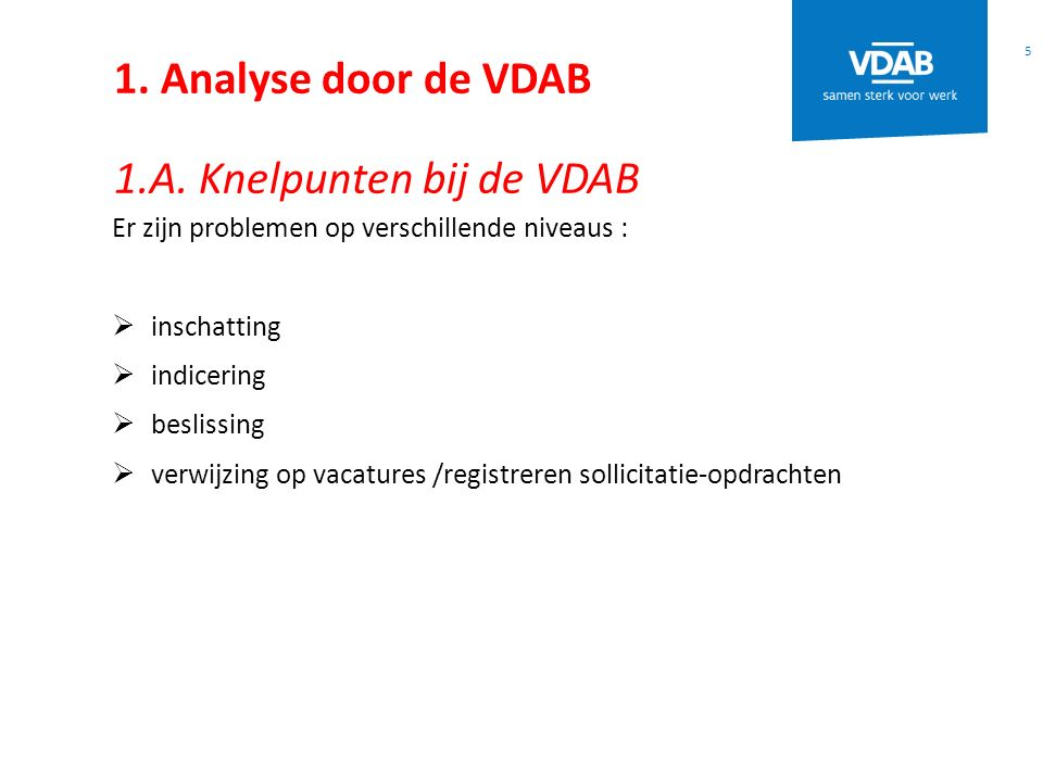1. Analyse door de VDAB 1.A. Knelpunten bij de VDAB