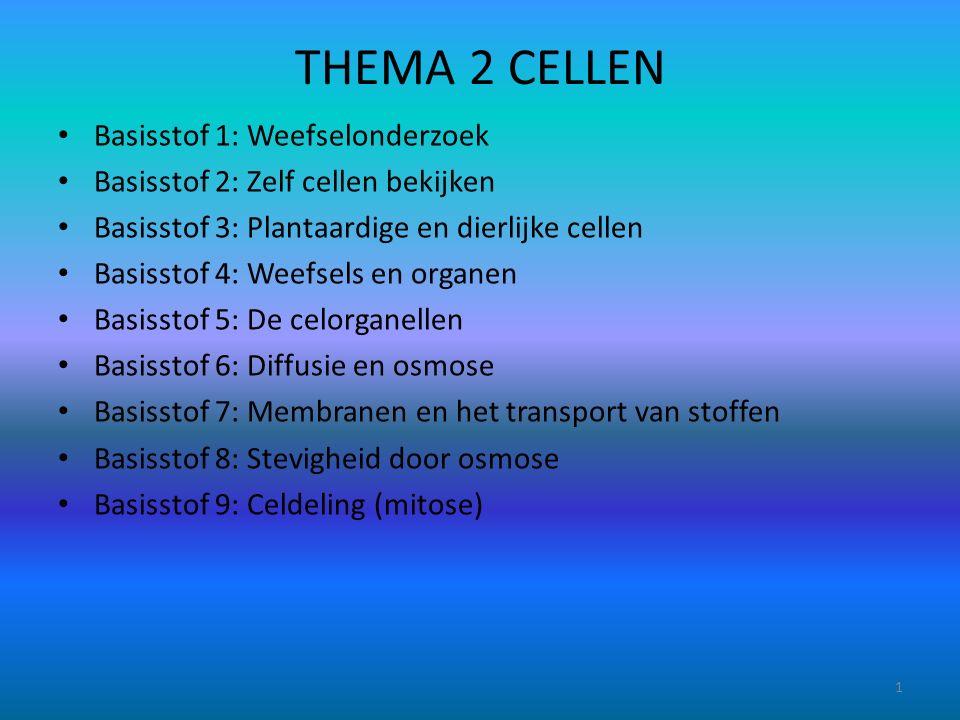 THEMA 2 CELLEN Basisstof 1: Weefselonderzoek