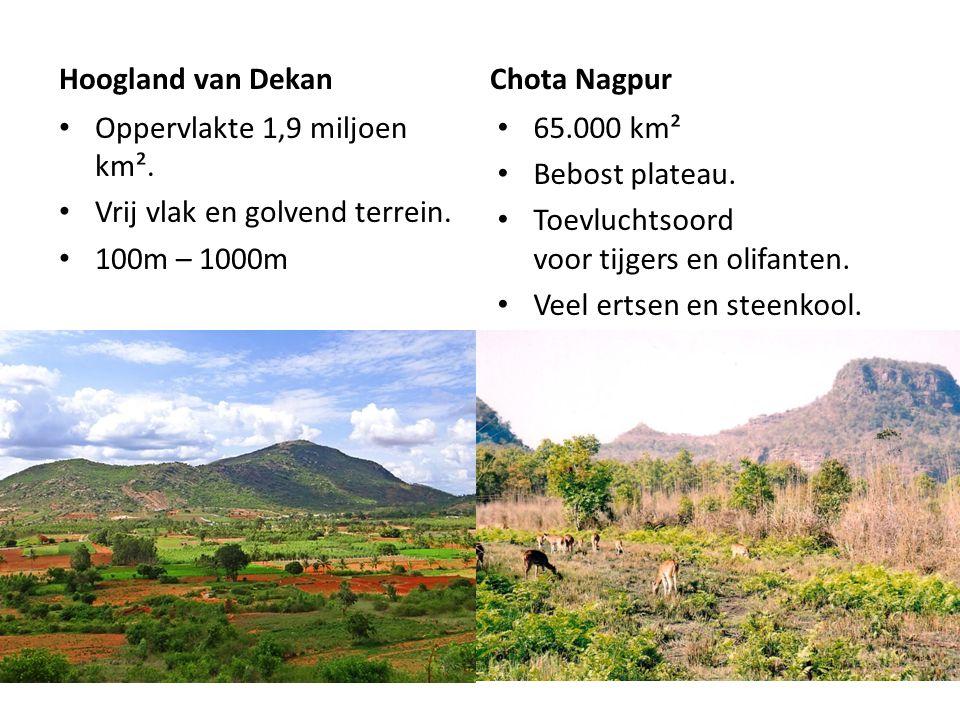 Hoogland van Dekan Chota Nagpur. Oppervlakte 1,9 miljoen km². Vrij vlak en golvend terrein. 100m – 1000m.