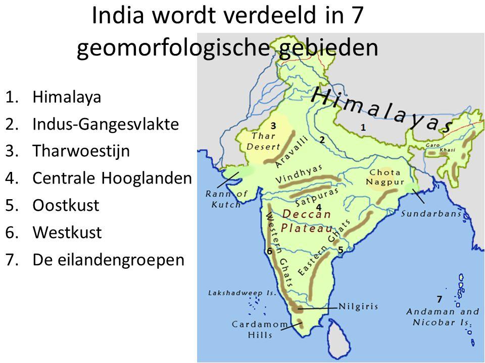India wordt verdeeld in 7 geomorfologische gebieden