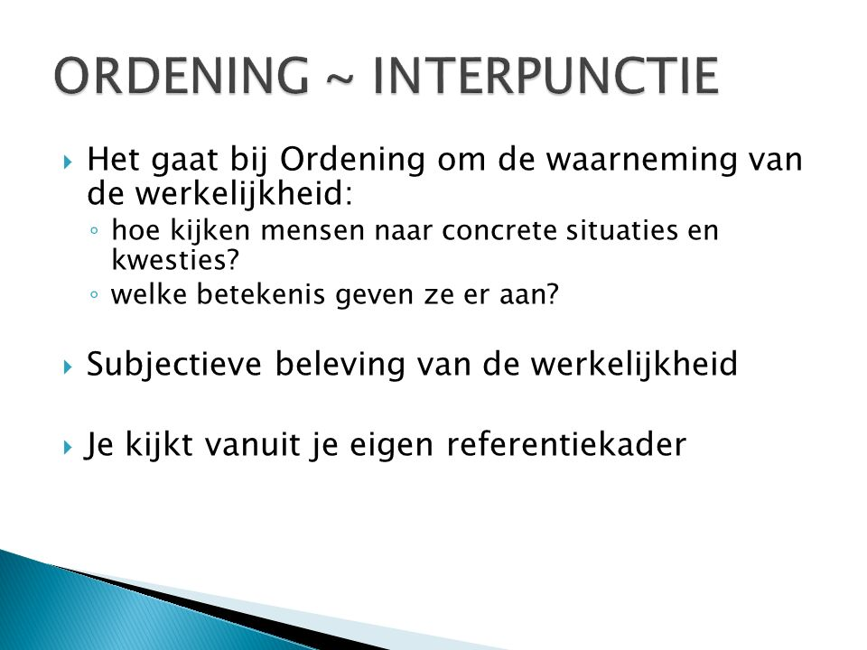 ORDENING ~ INTERPUNCTIE