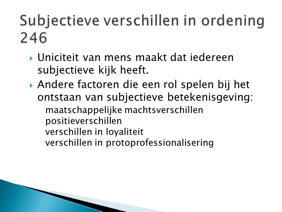 Subjectieve verschillen in ordening 246
