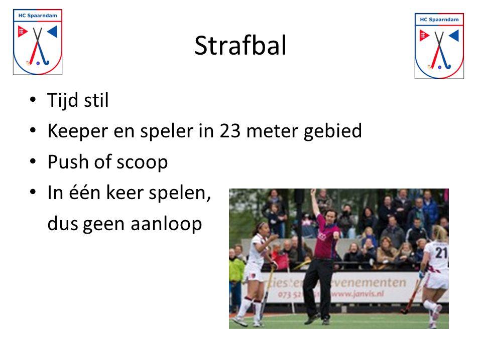 Strafbal Tijd stil Keeper en speler in 23 meter gebied Push of scoop