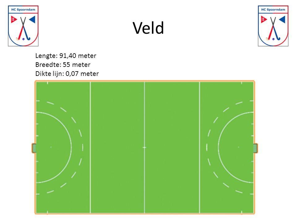 Veld Lengte: 91,40 meter Breedte: 55 meter Dikte lijn: 0,07 meter