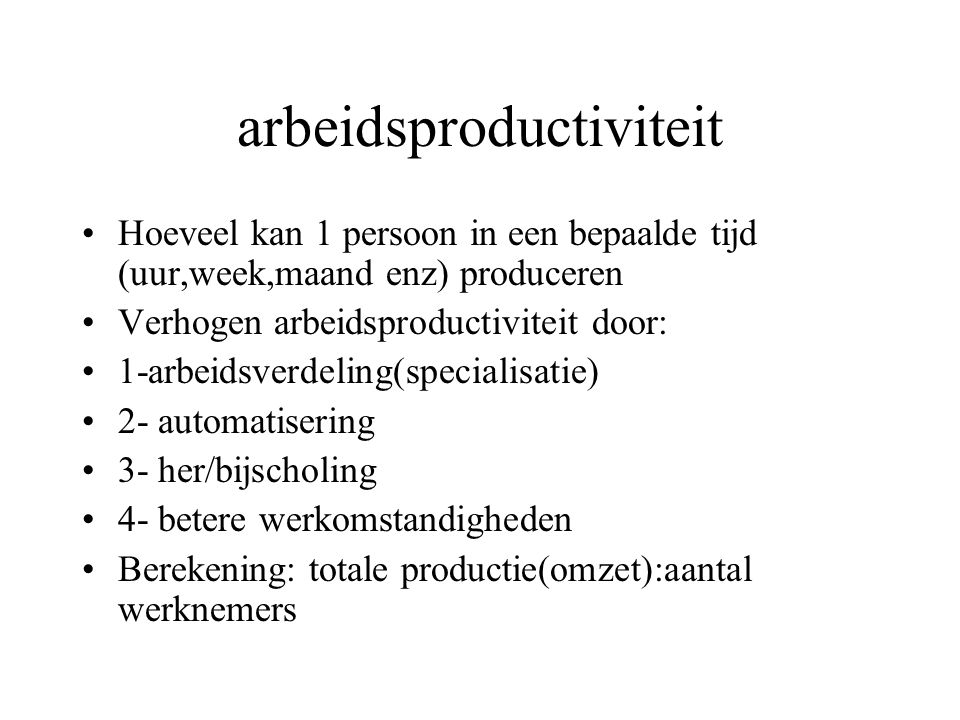 arbeidsproductiviteit