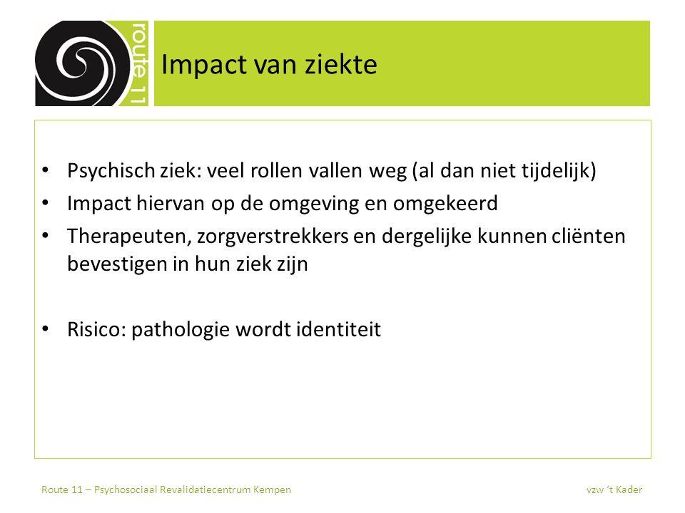 Impact van ziekte Psychisch ziek: veel rollen vallen weg (al dan niet tijdelijk) Impact hiervan op de omgeving en omgekeerd.