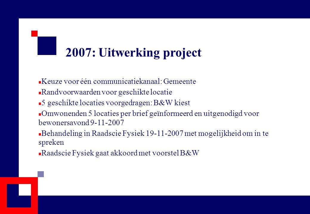 2007: Uitwerking project Keuze voor één communicatiekanaal: Gemeente