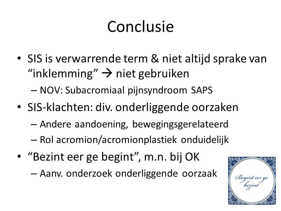 Conclusie SIS is verwarrende term & niet altijd sprake van inklemming  niet gebruiken. NOV: Subacromiaal pijnsyndroom SAPS.