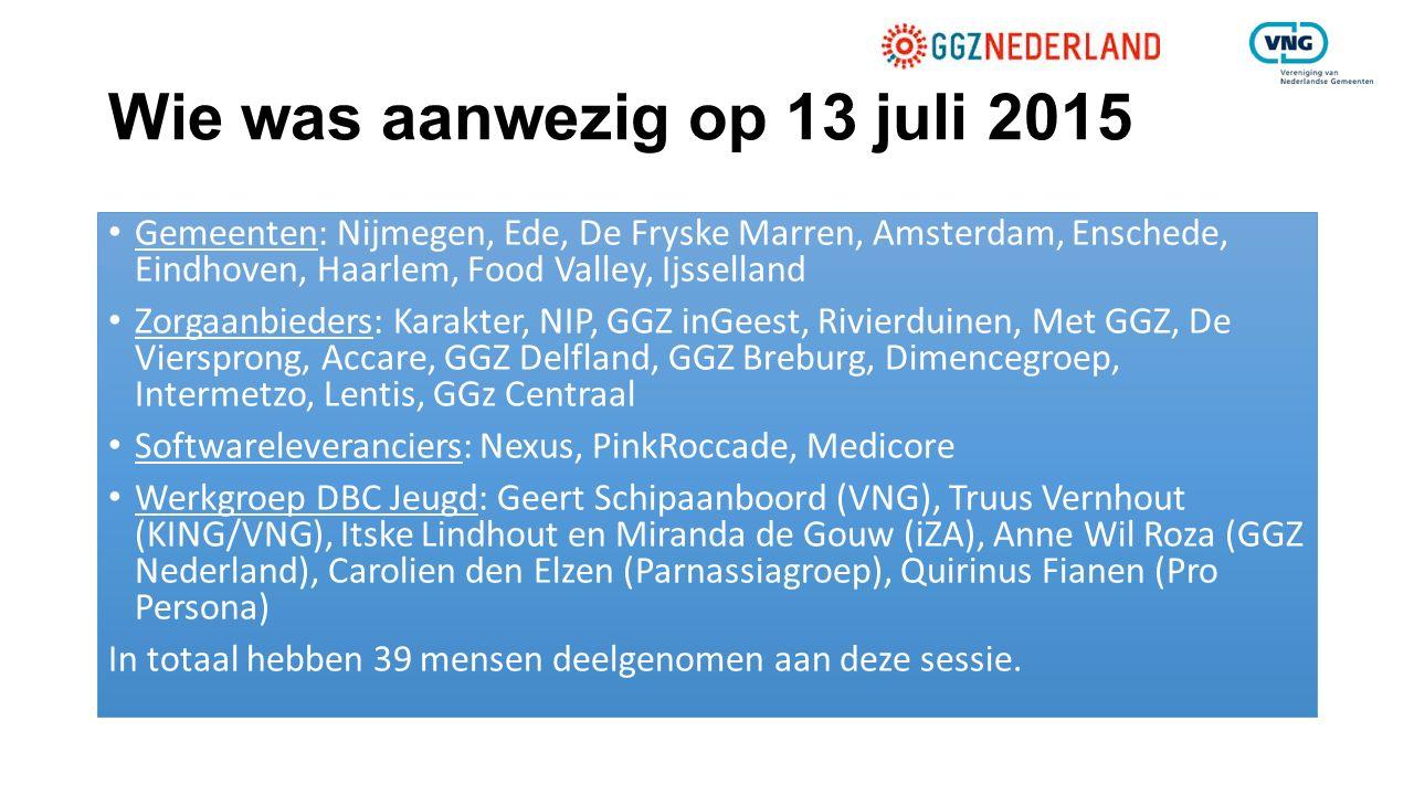 Wie was aanwezig op 13 juli 2015