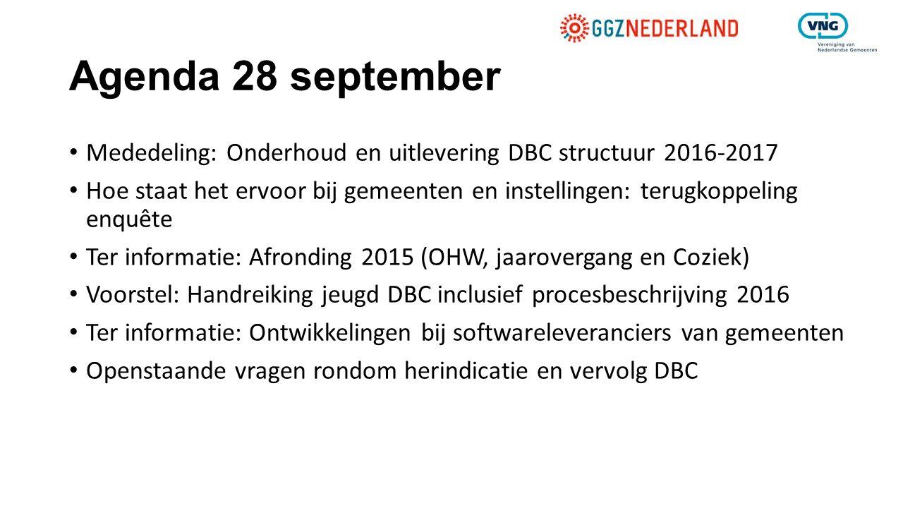 Agenda 28 september Mededeling: Onderhoud en uitlevering DBC structuur 2016-2017.