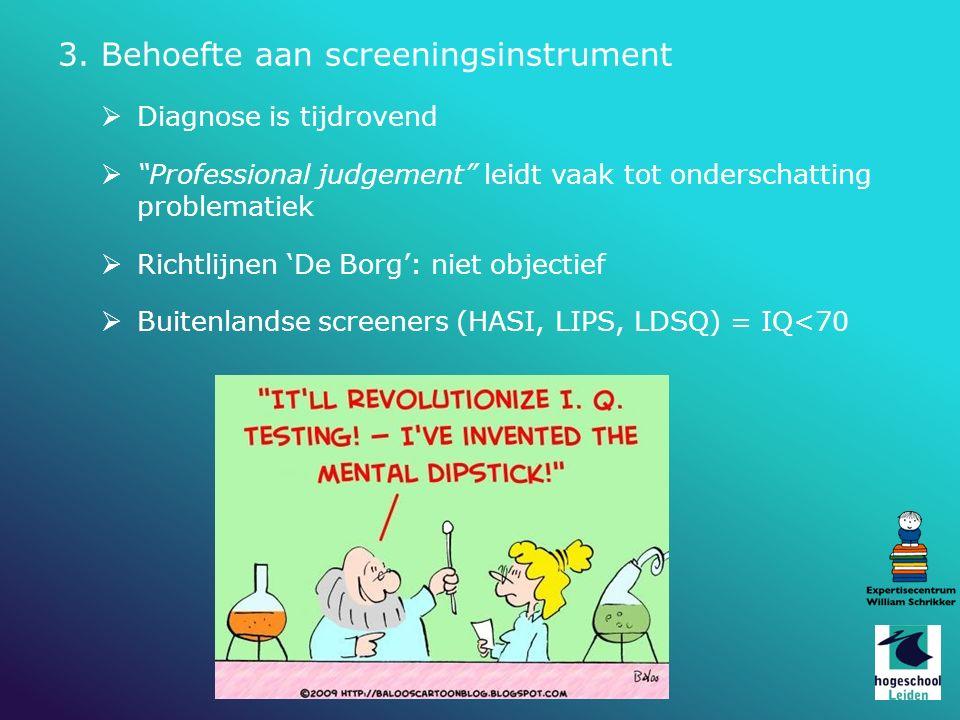 3. Behoefte aan screeningsinstrument