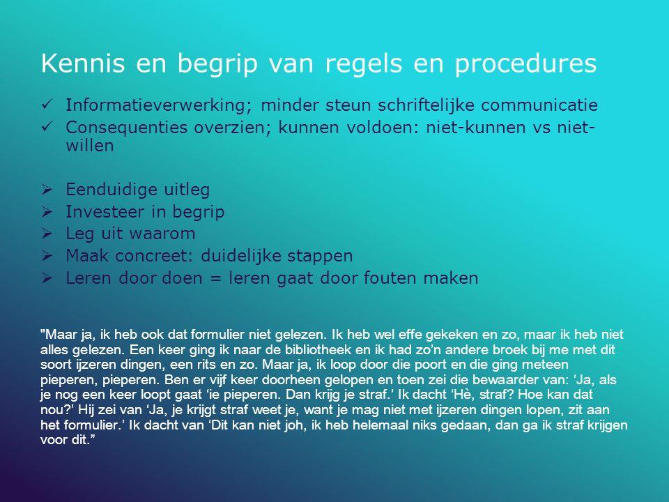 Kennis en begrip van regels en procedures