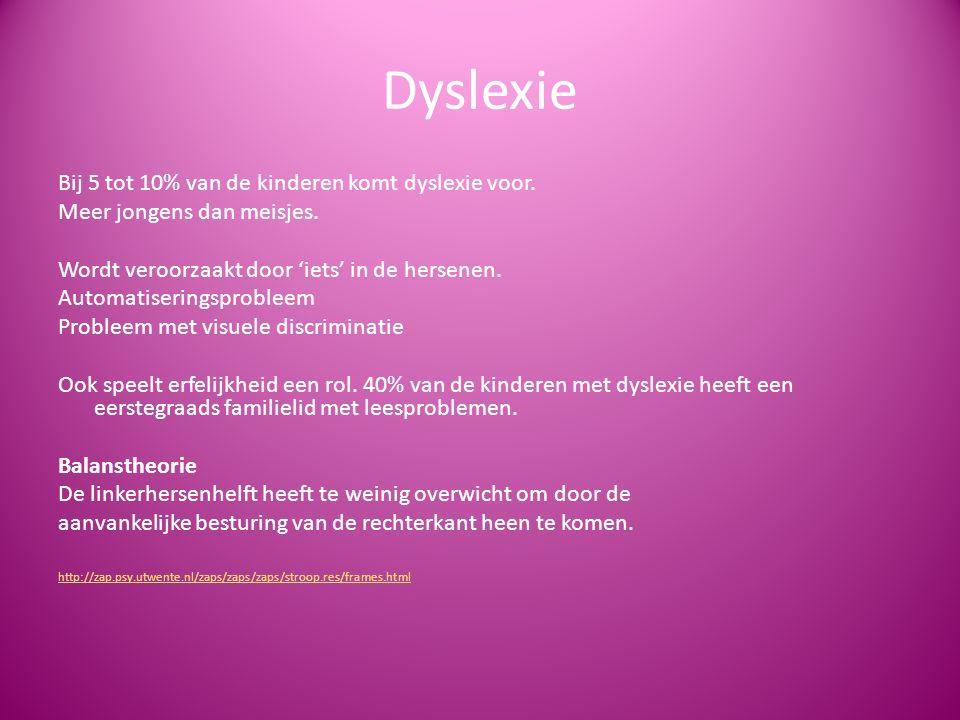Dyslexie Bij 5 tot 10% van de kinderen komt dyslexie voor.