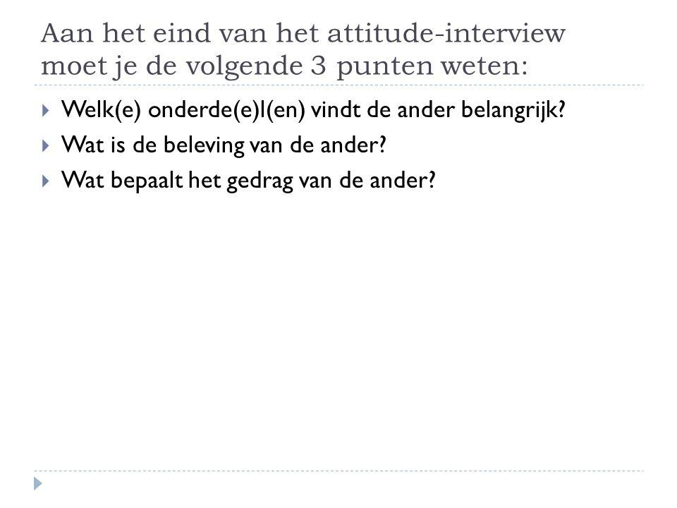 Aan het eind van het attitude-interview moet je de volgende 3 punten weten: