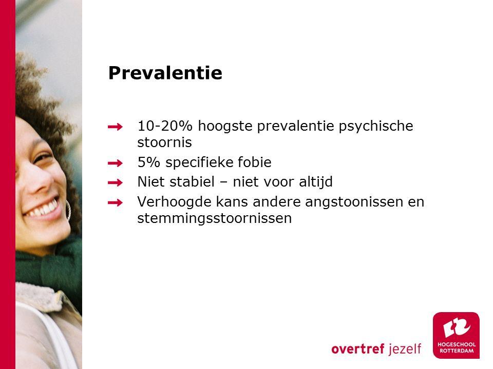 Prevalentie 10-20% hoogste prevalentie psychische stoornis