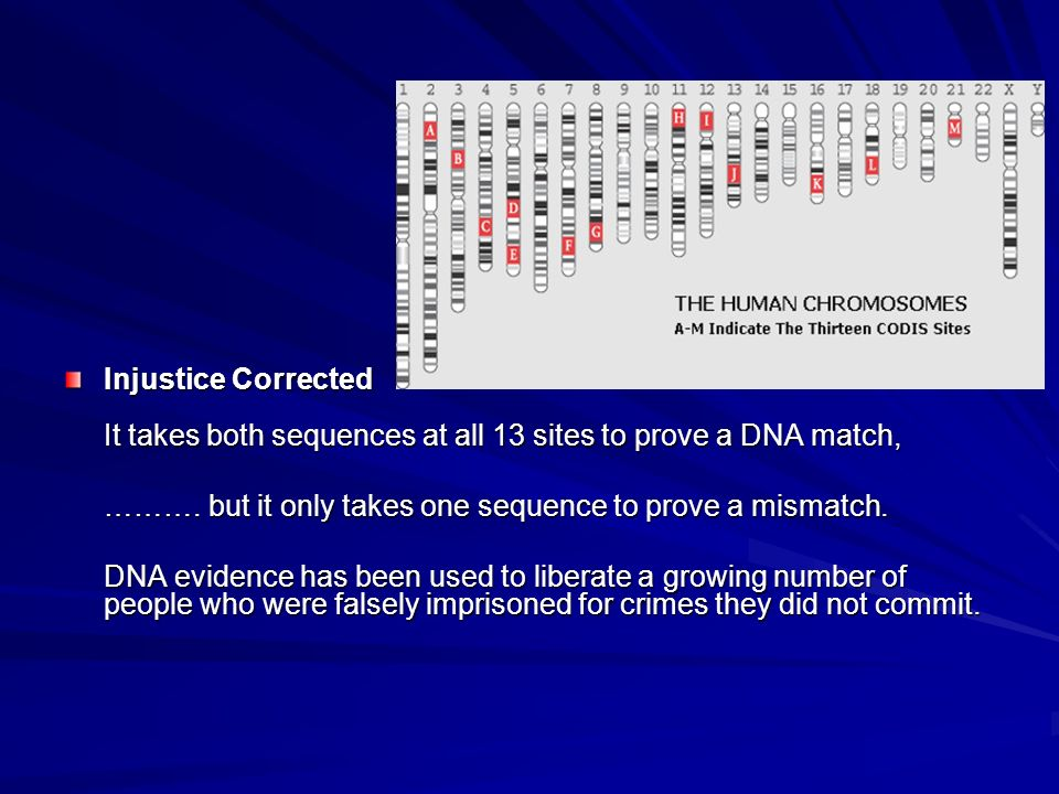Injustice Corrected It takes both sequences at all 13 sites to prove a DNA match,