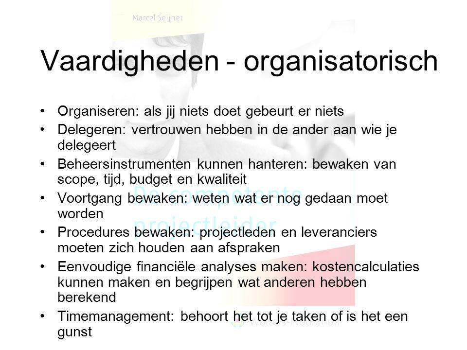 Vaardigheden - organisatorisch