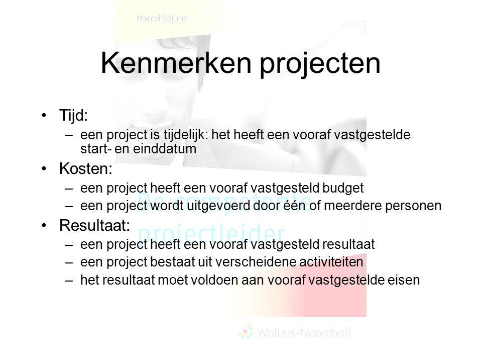 Kenmerken projecten Tijd: Kosten: Resultaat: