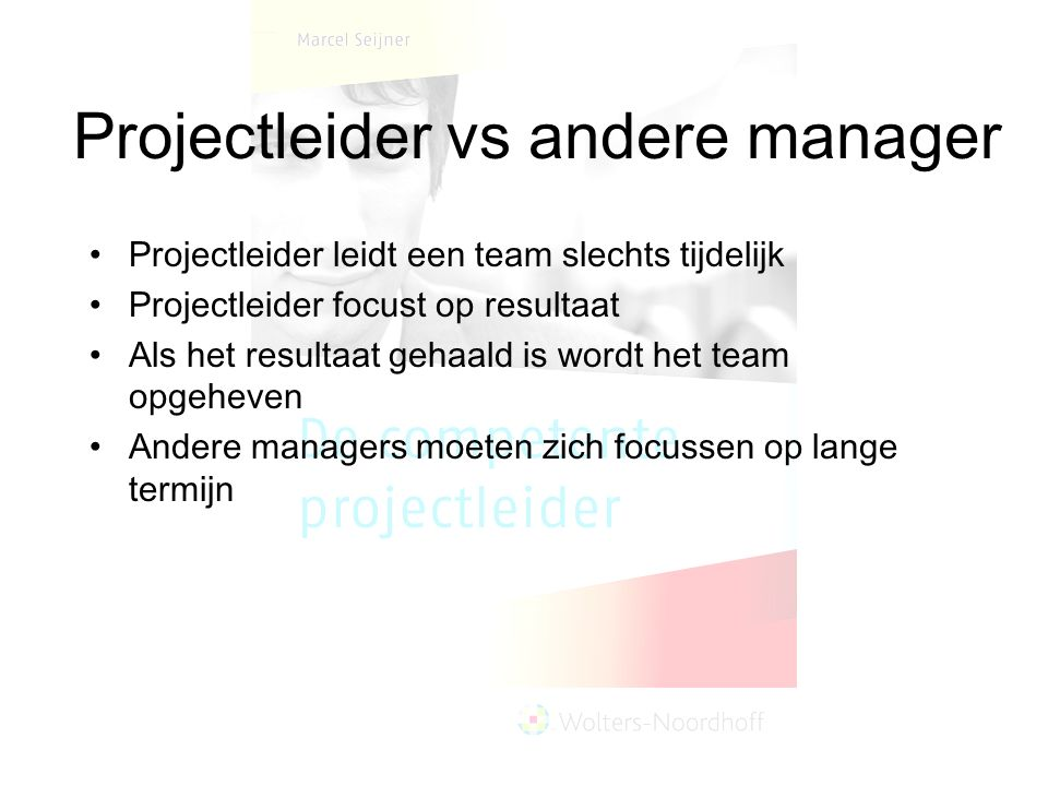 Projectleider vs andere manager