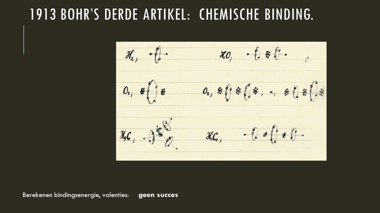 1913 Bohr's derde artikel: chemische binding.