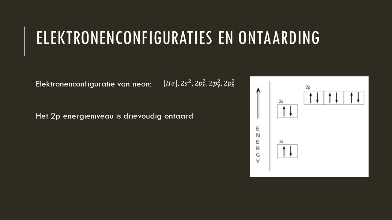 Elektronenconfiguraties en ontaarding