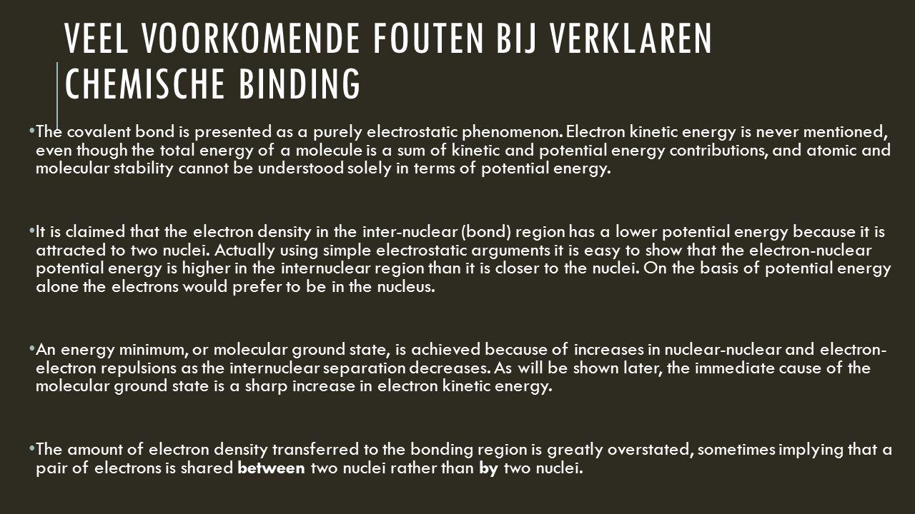 Veel voorkomende fouten bij verklaren chemische binding