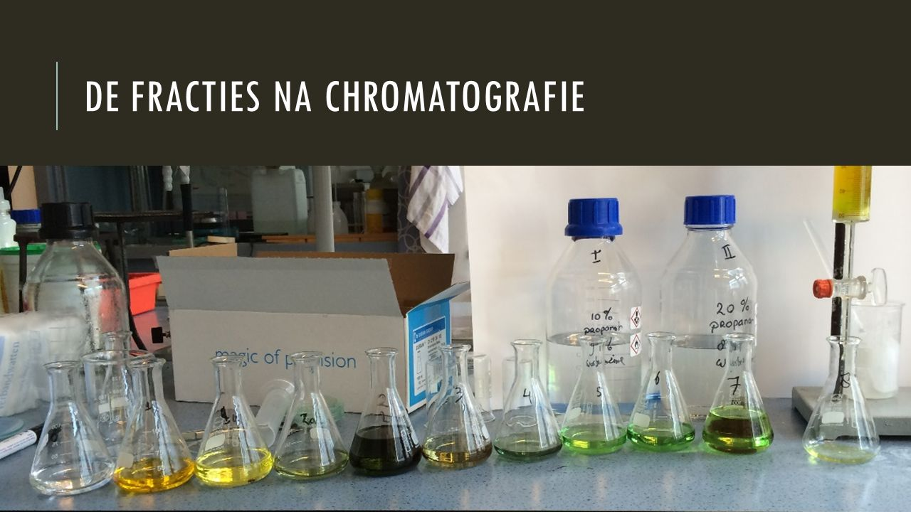 De fracties na chromatografie